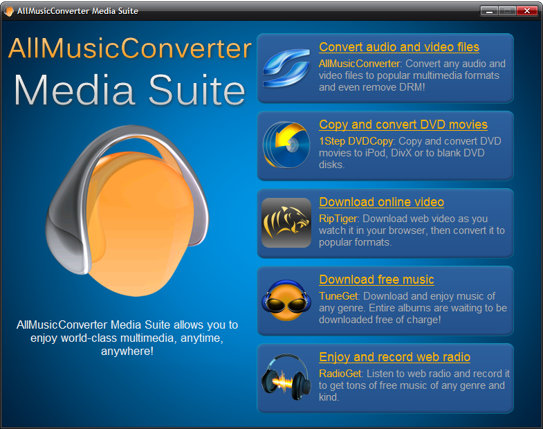 Click to view AllMusicConverter Media Suite 4.3.8 screenshot
